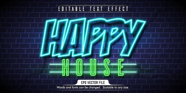 Testo felice, effetto di testo modificabile in stile neon