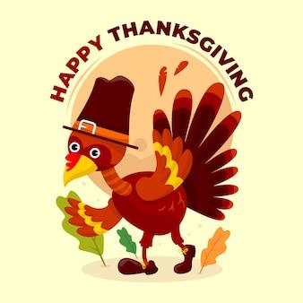 Grazie felici che danno illustrazione con pollo o kalkun per post sui social media o cartoline