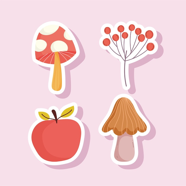 Felice ringraziamento mela funghi bacche ramo icone adesivo