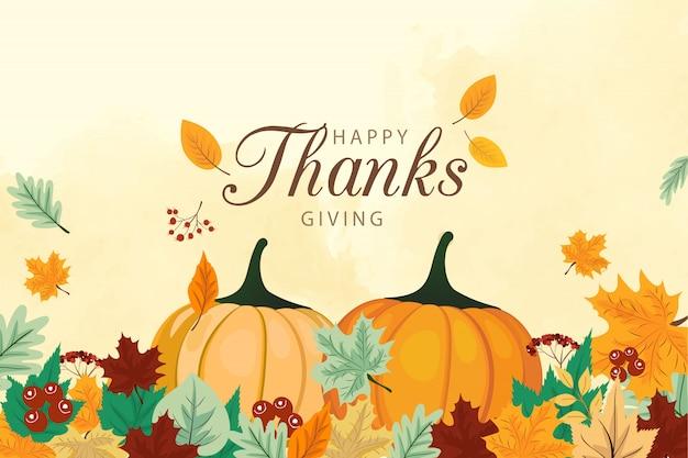 Felice giorno del ringraziamento con verdure e foglie colorate.