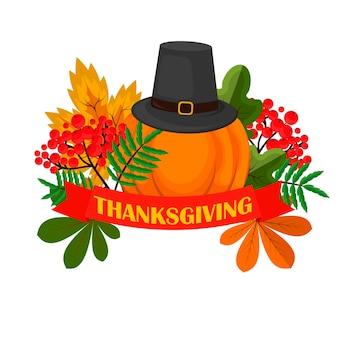 Happy thanksgiving celebration design fumetto autunno saluto raccolto stagione vacanza banner illustrazione vettoriale. cena di cibo tradizionale stagionale ringraziamenti che danno poster.