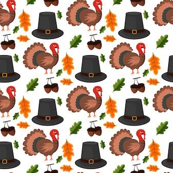 Happy thanksgiving celebration design fumetto autunno saluto raccolto stagione vacanza senza cuciture sfondo illustrazione vettoriale. cena di cibo tradizionale stagionale ringraziamenti che danno poster.
