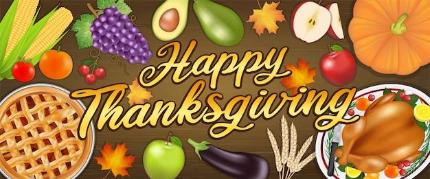 Felice banner del festival di celebrazione del ringraziamento con cibo e frutta
