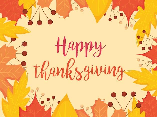 Felice design colorato di ringraziamento con cornice di foglie secche su sfondo arancione