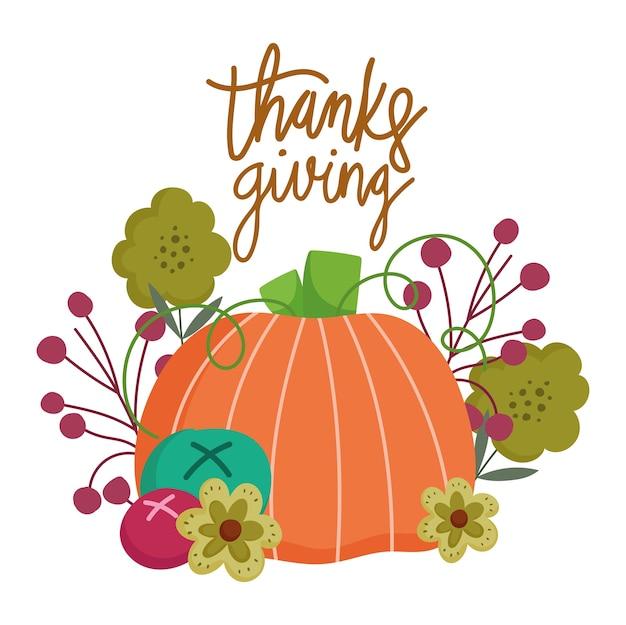 Felice giorno del ringraziamento, foglie di autunno fiori di zucca e frutta