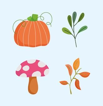 Felice giorno del ringraziamento, ramo di funghi zucca autunno lascia icone
