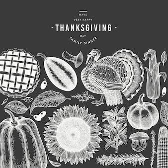 Felice giorno del ringraziamento banner. illustrazioni disegnate a mano sulla lavagna. saluto modello di ringraziamento in stile retrò.