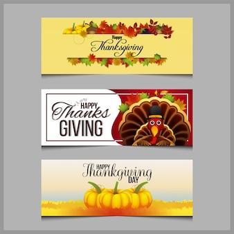 Felice giorno del ringraziamento banner impostato con zucca e foglie d'autunno
