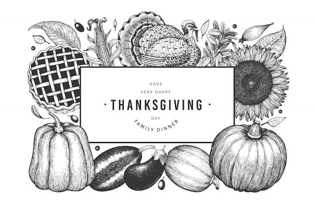 Banner di felice giorno del ringraziamento. illustrazioni disegnate a mano di vettore.