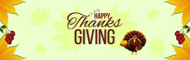 Felice giorno del ringraziamento banner con vettore tacchino uccello e foglie d'autunno