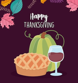 Felice giorno del ringraziamento carta con bicchiere di vino torta e zucca