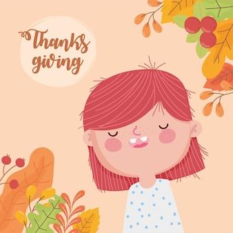 Felice giorno del ringraziamento carta con ragazza carina lascia la carta di decorazione di bacche