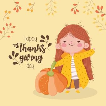 Carta felice giorno del ringraziamento con ragazza carina con decorazione di rami di zucca