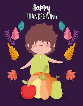 Carta felice di giorno del ringraziamento con il ragazzino con zucca mela e pera