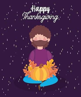 Felice giorno del ringraziamento card con uomo seduto con zucca caduta foglie