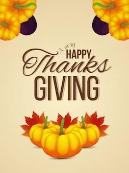 Volantino per la celebrazione del giorno del ringraziamento felice con foglie di atumn e zucca