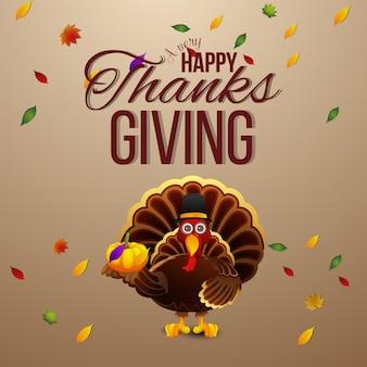 Cartolina d'auguri di celebrazione del giorno del ringraziamento felice con uccello tacchino e sfondo