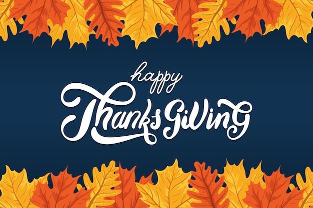 Iscrizione di celebrazione del giorno del ringraziamento felice con cornice autunnale di foglie