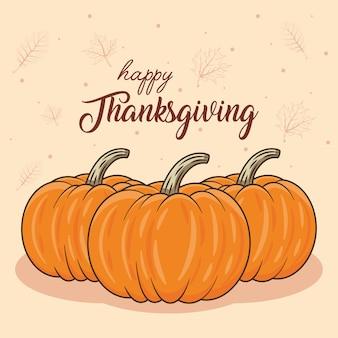 Iscrizione di celebrazione del giorno del ringraziamento felice con le zucche