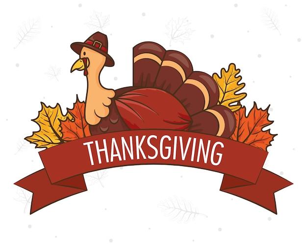 Celebrazione felice del giorno del ringraziamento con il tacchino che indossa il cappello e le foglie del pellegrino