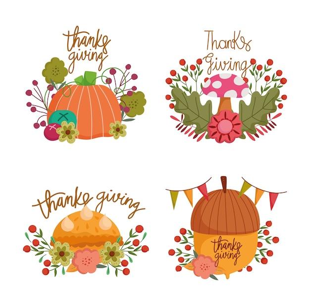 Felice giorno del ringraziamento, raccolta lettering decorazione fiori ghianda zucca fungo