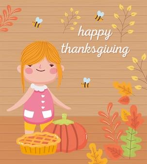 Ragazza carina felice giorno del ringraziamento con api di zucca torta e foglie di autunno