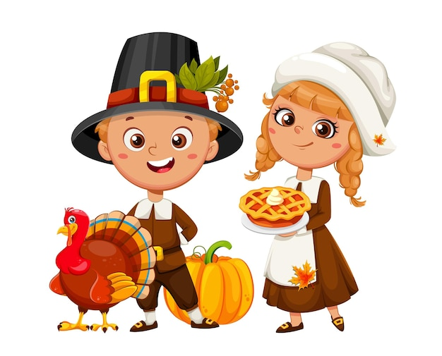 Felice giorno del ringraziamento. simpatici personaggi dei cartoni animati di ragazzo e ragazza pellegrini. illustrazione vettoriale d'archivio