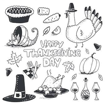 Felice giorno del ringraziamento doodle schizzo elemento vettore impostato isolato.