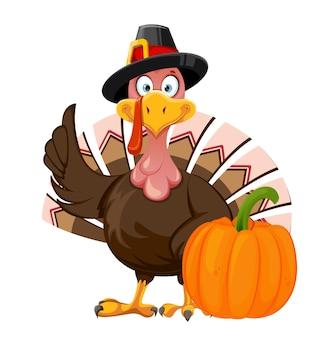 Felice giorno del ringraziamento. personaggio dei cartoni animati divertente uccello tacchino del ringraziamento