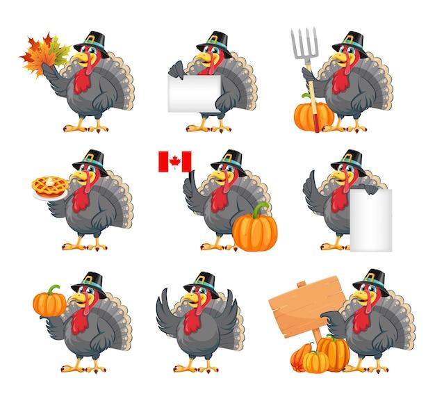 Felice giorno del ringraziamento divertente personaggio dei cartoni animati tacchino uccello con cappello da pellegrino set di nove pose