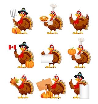 Felice giorno del ringraziamento divertente personaggio dei cartoni animati tacchino uccello set di nove pose