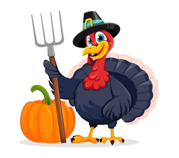 Felice giorno del ringraziamento. divertente personaggio dei cartoni animati di turchia uccello