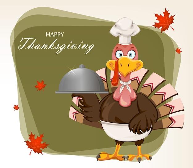 Felice giorno del ringraziamento. uccello divertente della turchia
