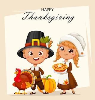 Cartolina d'auguri di buon giorno del ringraziamento simpatici personaggi dei cartoni animati di ragazzo e ragazza pellegrini