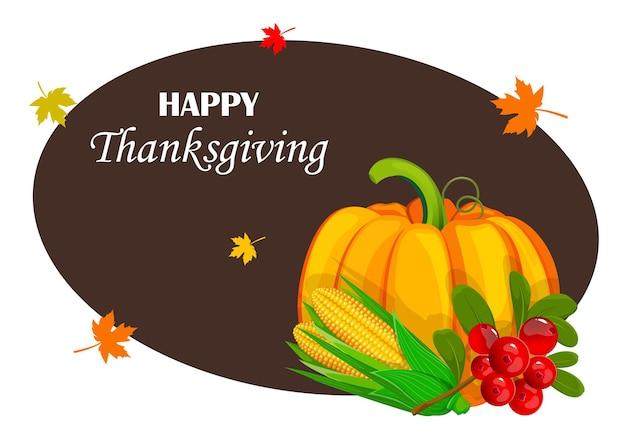 Cartolina d'auguri di buon giorno del ringraziamento raccolto fresco zucca mais e mirtilli rossi