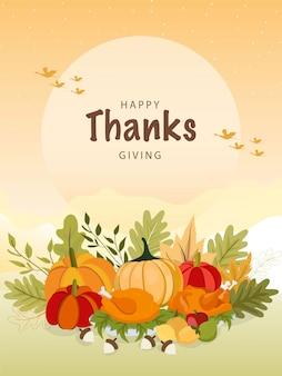 Modello di auguri felice giorno del ringraziamento con verdure e foglie colorate.