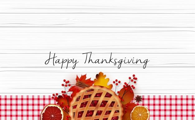 Cartolina d'auguri felice giorno del ringraziamento con disegno realistico sfondo