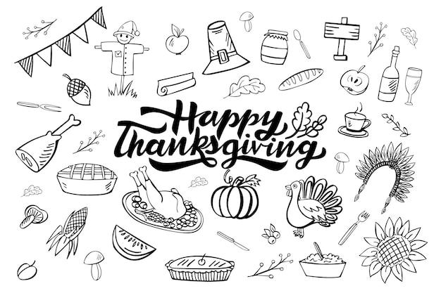 Felice giorno del ringraziamento disegnato a mano doodle set di 36 elementi