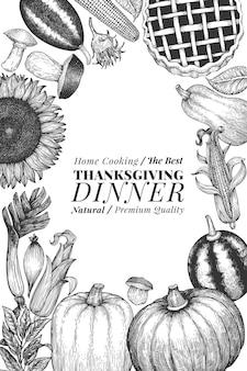Felice giorno del ringraziamento. illustrazioni disegnate a mano. saluto modello di disegno del ringraziamento in stile retrò. sfondo autunno.