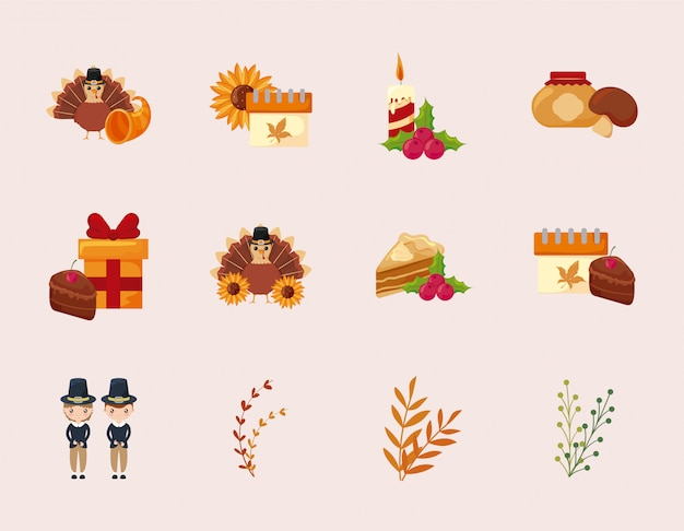 Progettazione stabilita di vettore dell'icona felice di giorno di ringraziamento