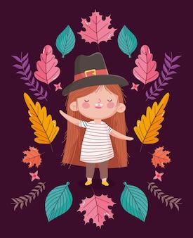 Illustrazione felice di giorno del ringraziamento con la bambina sveglia che porta il cappello del pigrim