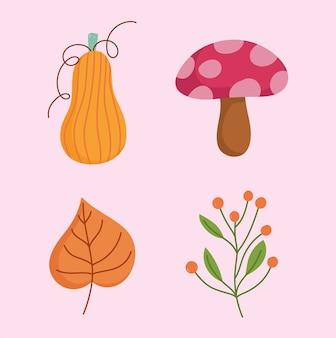 Felice giorno del ringraziamento, foglia di zucca fungo e ramo con icone di bacche