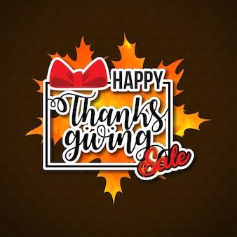 Vendita felice giorno del ringraziamento. nuova tipografia creativa su sfondo marrone