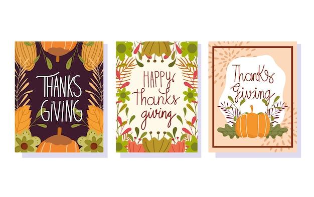 Felice giorno del ringraziamento, foglie di lettering stagionale foglie banner floreali di zucca