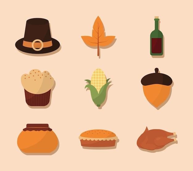 Felice giorno del ringraziamento set di simboli di design, tema della stagione autunnale