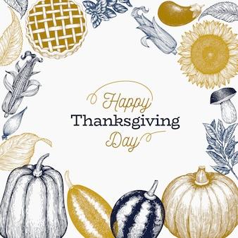 Modello di felice giorno del ringraziamento. illustrazioni disegnate a mano.