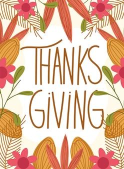 Felice giorno del ringraziamento, tipografia fogliame fiori foglie cadono