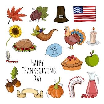 Felice giorno del ringraziamento con raccolta di elementi