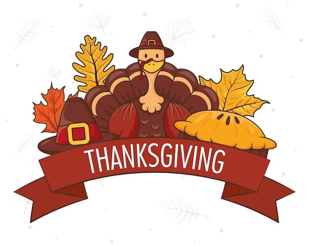 Felice giorno del ringraziamento con il tacchino che indossa il cappello e le foglie del pellegrino