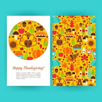 Modello di volantino felice del ringraziamento. illustrazione vettoriale del concetto di vacanza autunnale.